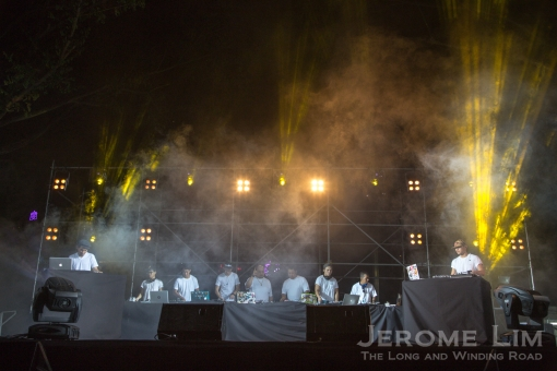 The 10 DJs on stage.