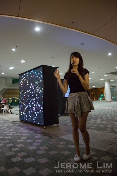 One of the students behind Singapore University of Technology and Design's Night Lights installation at SMU, Stop and Smell the Flowers ...