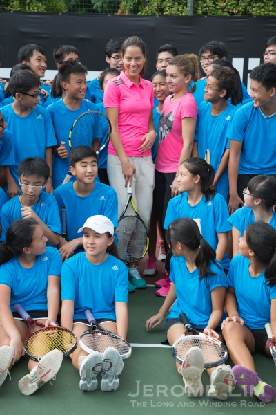 Ana Ivanovic and Simona Halep at Raffles Institution.