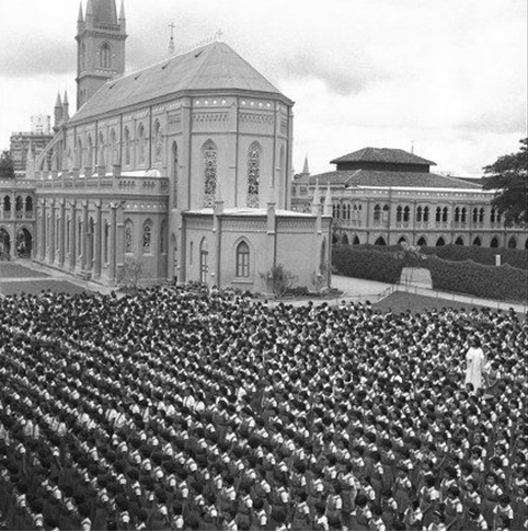 An assembly held in the field behind the chapel.