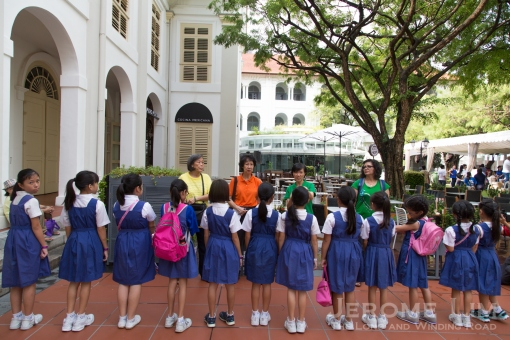 Primary school participants being arranged in order of height.