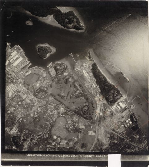 An aerial view of Tanjong Berlayer in 1966, showing the BP refinery (source: National Archives of Singapore).
