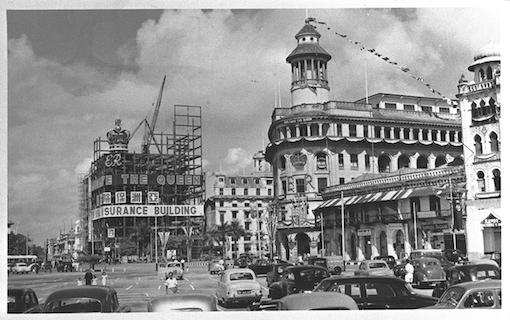 Construction of the building seen during the year of the Coronation, 1953.