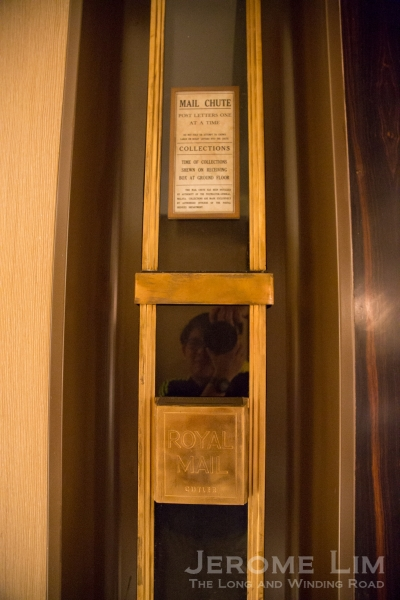 The James Cutler 15 storey brass mail chute that was originally installed in the building.