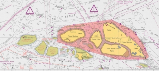 Navigation chart showing locations of patch reefs and sandbars south of the Bukom cluster.