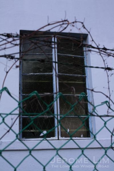 The building's windows seen through a fence.