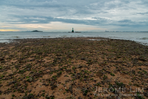 The intertidal zone at Tanjong Merawang looking out towards Merawang Beacon and Pulau Merambong.