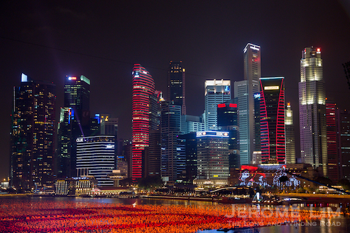 The city's ultra modern skyline - illuminated in colours selected for the New Year.