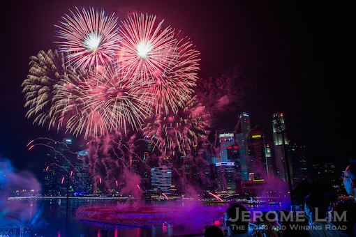 Fireworks over Marina Bay at the stroke of midnight, 2015.