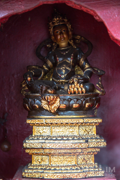 A Hindu deity outside the temple.