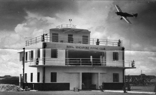 The Royal SIngapore Flying Club's clubhouse at the Kallang Civil Aerodrome in 1937.