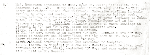 A page from the Australian Imperial Forces 2/20 Battalion unit diary. The 2/20 Battalion was defending the sector where Sarimbun Beach is at the time of the landings.