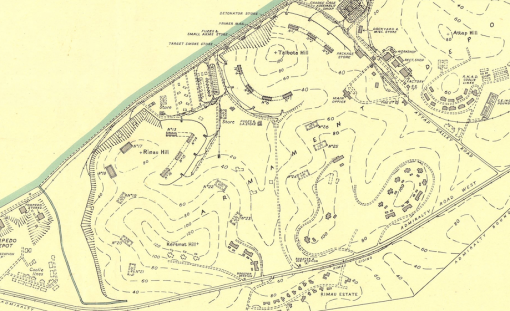 An extract of a 1945 map of the Naval Base showing the area and the layout of the ammunition depot, including the seven magazines under Talbot's Hill.