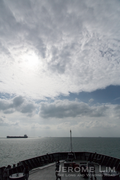 A view over the bow of the RSS Endurance towards the vastness of the sea.