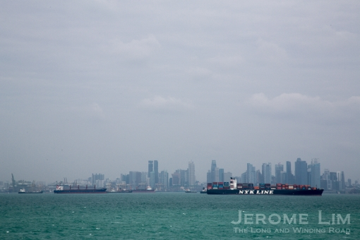 The city's skyline as seen from the Singapore Strait.