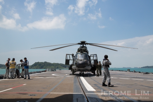 The helideck has two landing spots. A Super Puma embarked for the SAF50 @ Vivo event is seen here.
