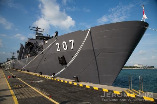 The RSS Endurance at berth at Changi Naval Base.