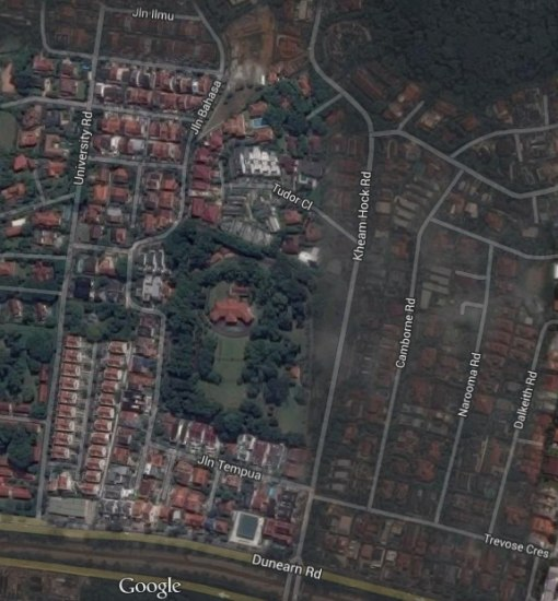 A Google Maps satellite view of the grounds and the surrounding area.