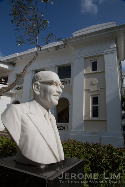The S P Jain School of Global Management with a bust of its founder.