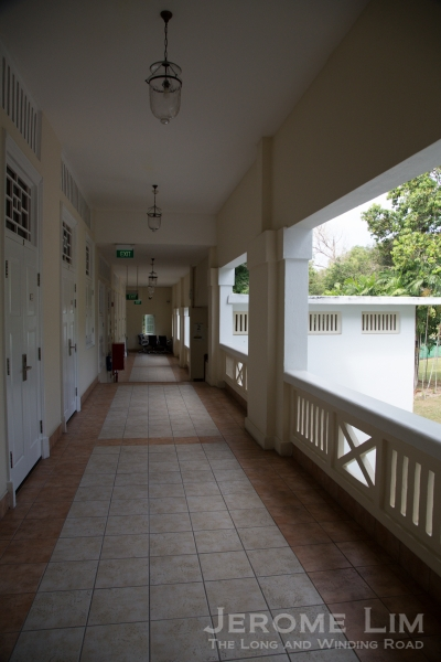 The upper corridors where rooms for visiting faculty are laid out.