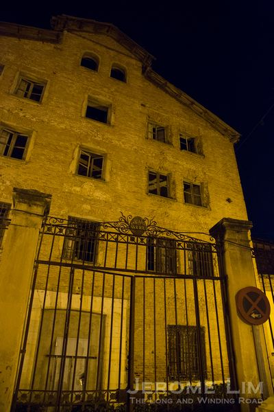 The entrance to the former women's prison after dark.