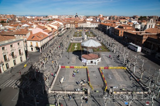 The view north across Plaza de Cervantes. The medieval quarter is to the left of teh square and the university precinct to the right.