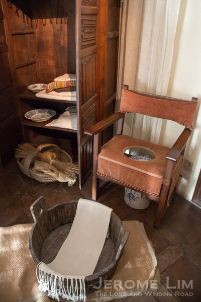 Furnishings for a sanitary  room from the period.