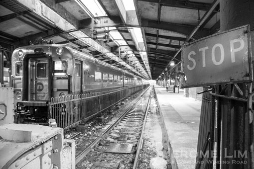 A look at the train platforms and the shed, an innovation at the time. The low sheds used in Hoboken Terminal were provided with open channels above the tracks to  allow steam and exhaust gases to vent.