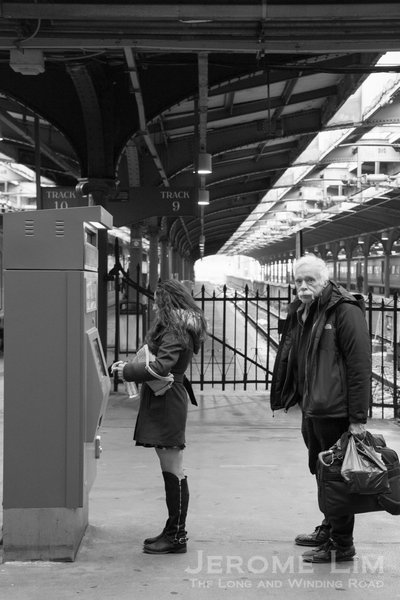 A ticket dispenser at the train platform.