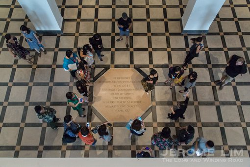 The eight sided foundation stone under which there is a time-capsule that is meant to be opened in the year 3000.