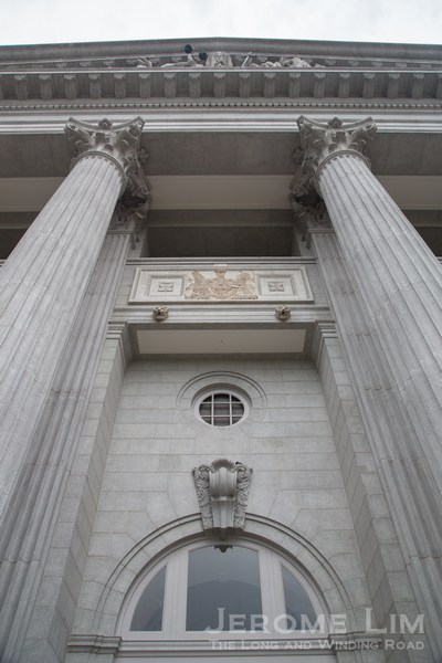 A view from the balcony towards the pediment. The space left by a missing coat of arms, thought to be removed during the Japanese Occupation, will be left as it is.