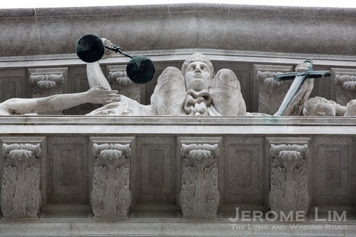 The pediment of the old Supreme Court on which Justice is not blind in Singapore.
