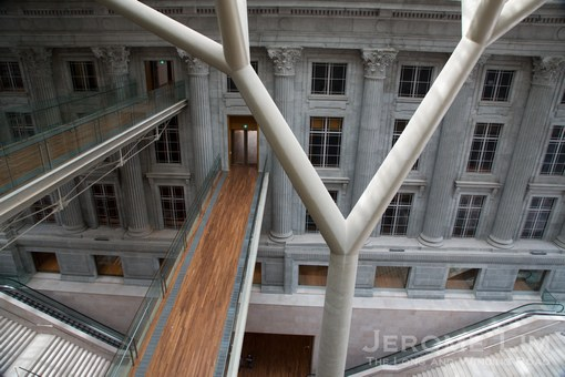 A view of the sky bridges between in the atrium created the two buildings.
