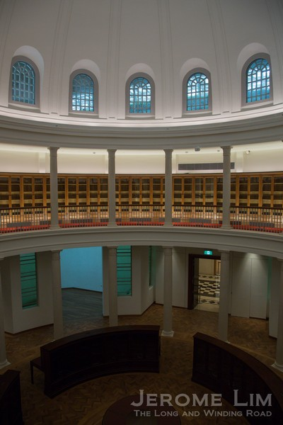 My favourite space in the two buildings, the Rotunda Library, seen in a new light.