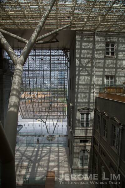The atrium between the two buildings.
