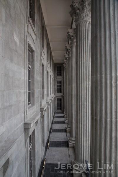 The Corinthian columns of the former City Hall's façade.