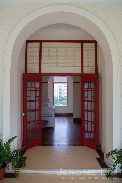 A doorway on the upper level.