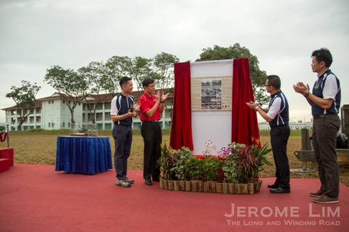 Mr Chan Chun Seng and President of the 160 AA Alumni MAJ(NS) Jayson Goh launching the heritage storyboard.