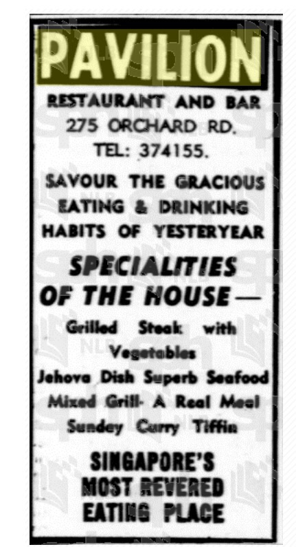 A newspaper advertisement for the Pavilion.