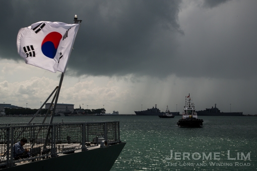 The stern of the ROKS Incheon against the incoming storm.