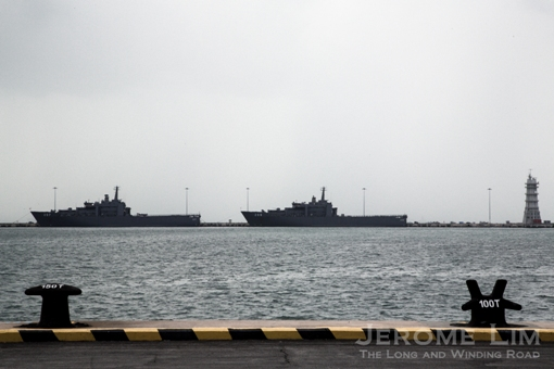 The silhouettes of two of the Republic of Singapore Navy's Endurance class LSTs.
