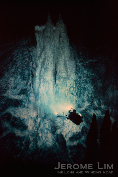 The scale of hydrothermal formations can be seen against a silhouette of  a submersible in one of the photographs.