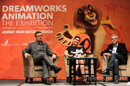 Mr Chris Harris of ACMI, the ArtScience Museum's Ms Honor Harger and Mr Doug Cooper of DreamWorks Animation.