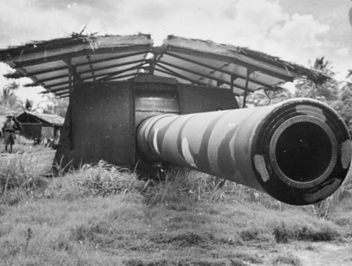 A photograph of one of the monster guns from the Imperial War Museums collection ©IWM (K 758) (Captioned as: A 15-inch coast defence gun at Singapore, November 1941).