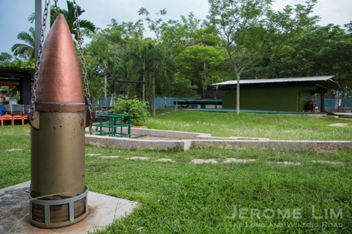 An 800 kg shell on display at the Johore Battery site.