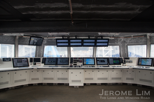 The unfinished Integrated Command Centre with the Engineering and Navigation consoles.