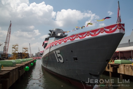 The uncompleted RSS Independence LMV at her launch and christening.