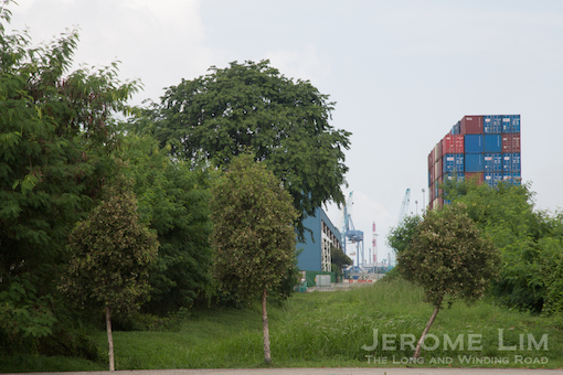 A southward view from Jalan Buroh towards what was the corridor along which the spur line west of Jurong Port Road ran.