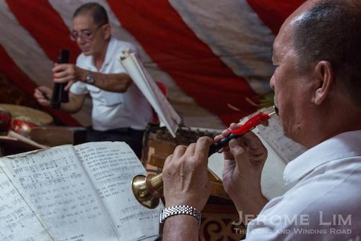 Music accompanies the performance.