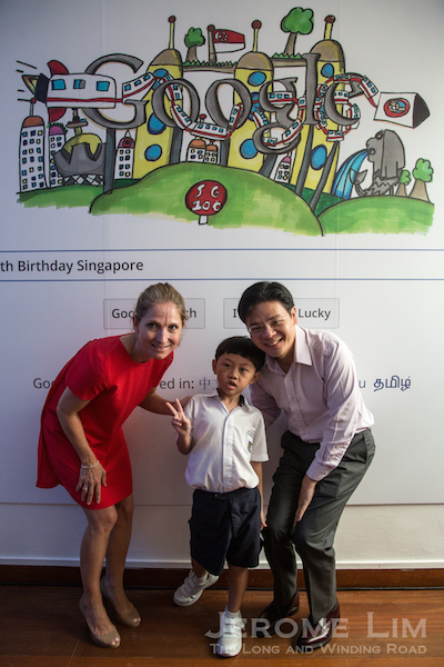 The winning Doodle for Google entry, by 8 year old Moh Journ Haydn, which will go on the Google Singapore page for 24 hours on 9 August 2015.